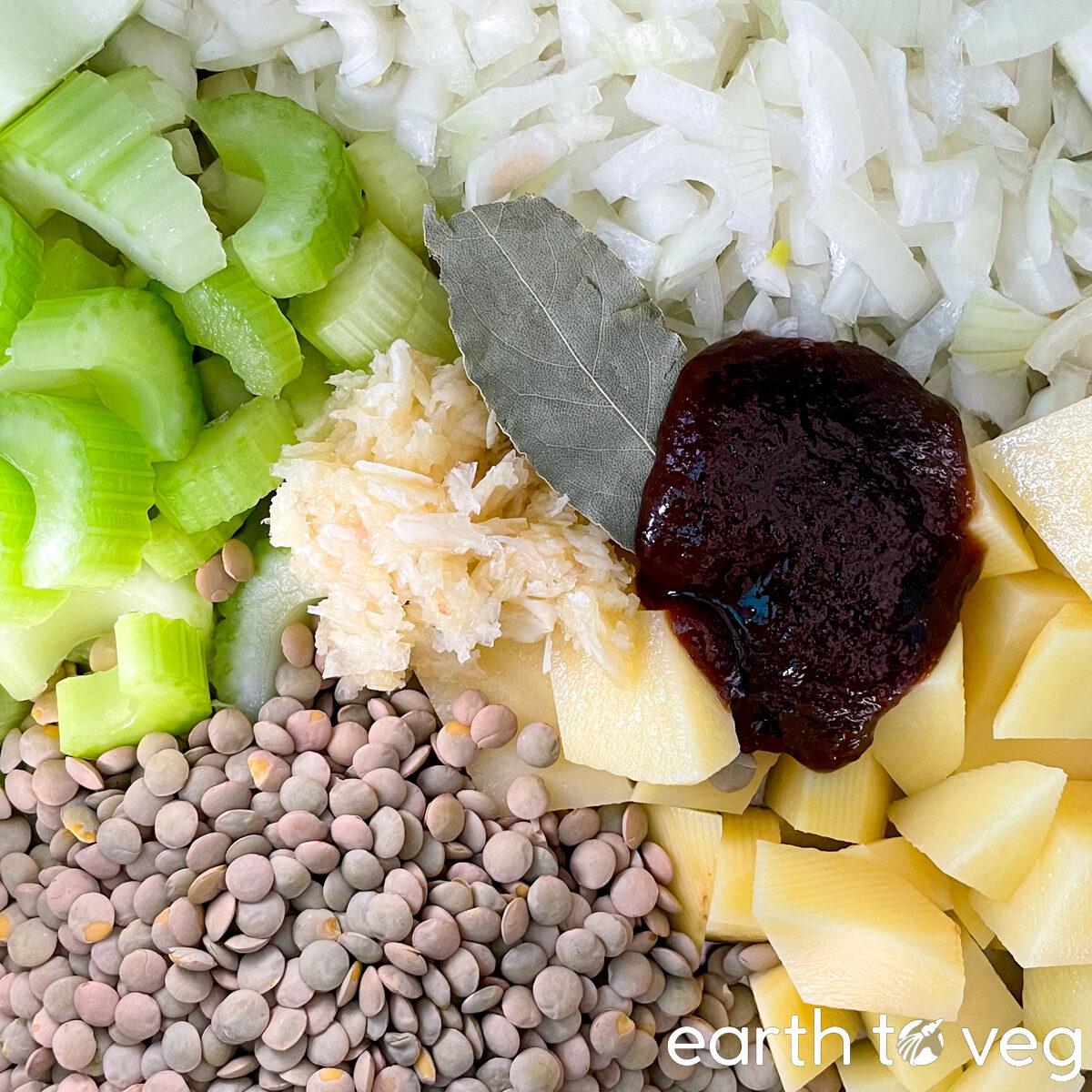 vegan lentil soup ingredients
