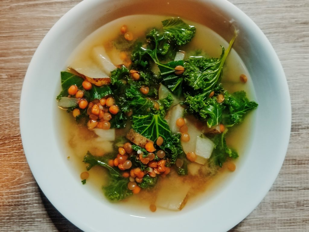 lentil miso soup with kale