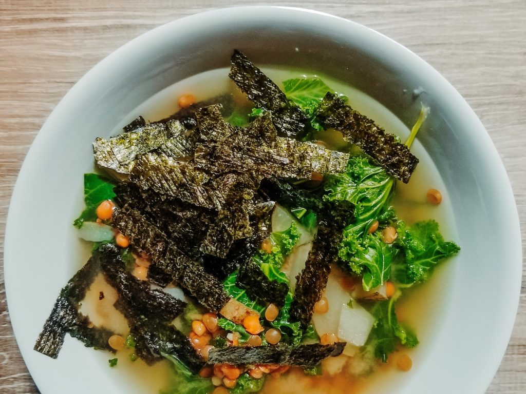lentil miso soup with kale and nori