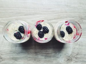 high protein blackberry overnight oats in mason jars