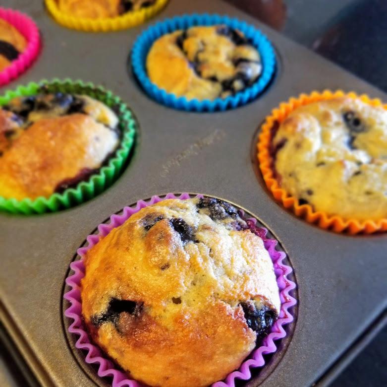 freshly baked blueberry okara muffins