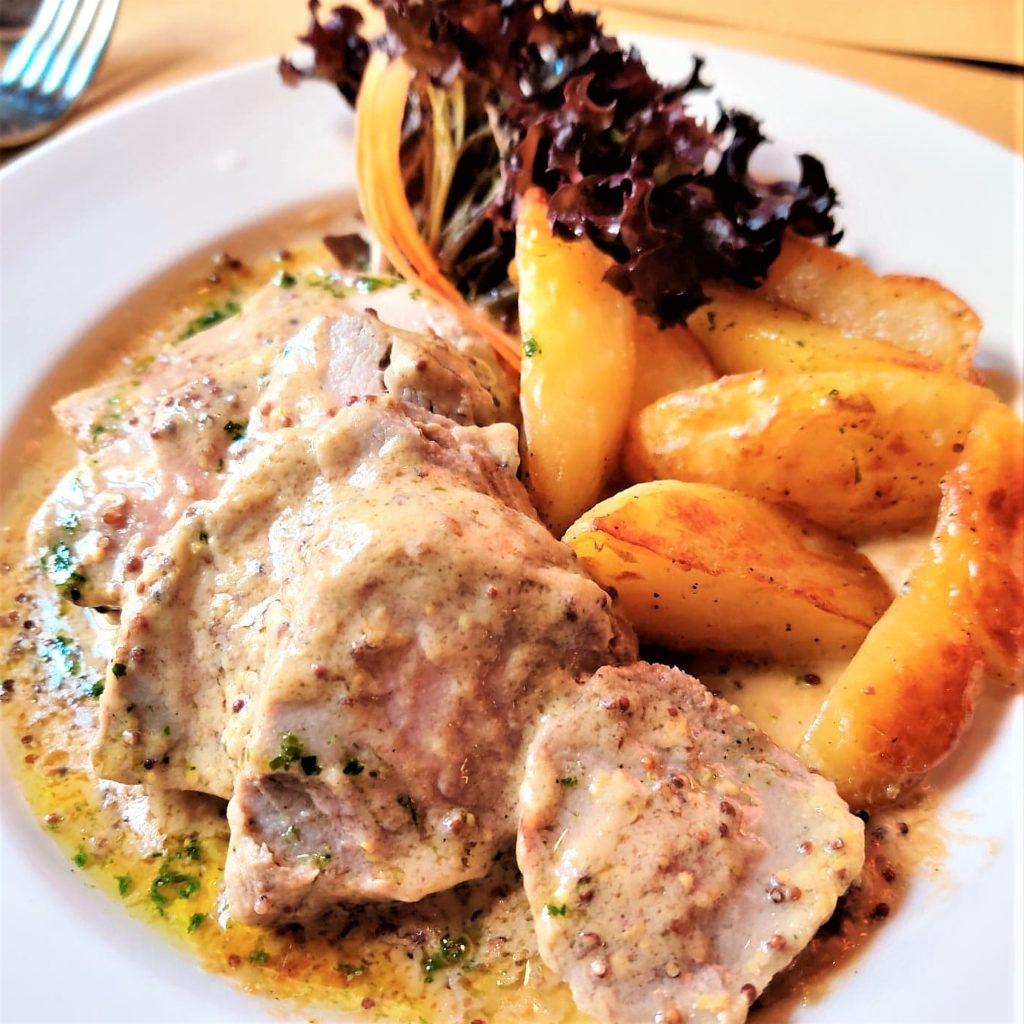 lamb and potato with mustard sauce at la zucca