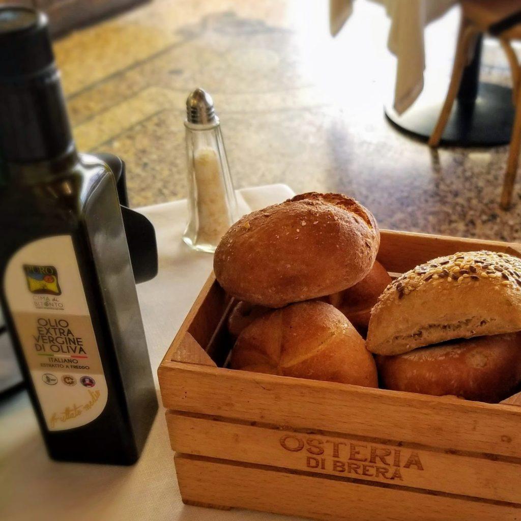 bread basket with olive oil at osteria di brera