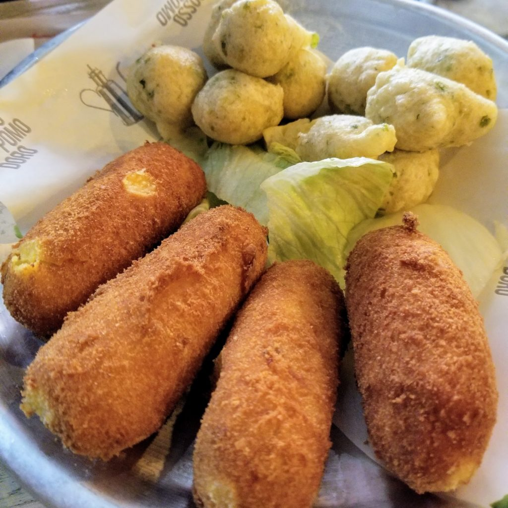 tiellina (neapolitan fried snacks) at rossopomodoro pizzeria in venice