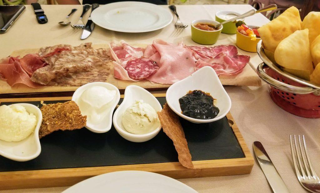 cold cuts appetizer at trattoria da me, bologna