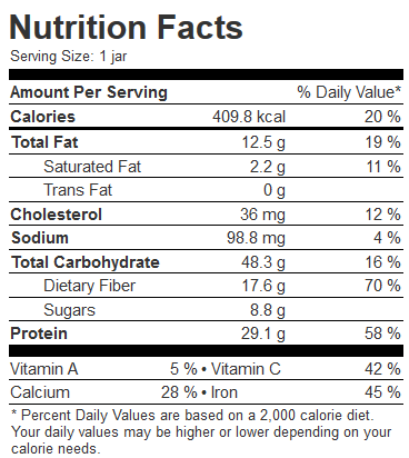 blackberry protein overnight oats nutrition facts (410 calories)