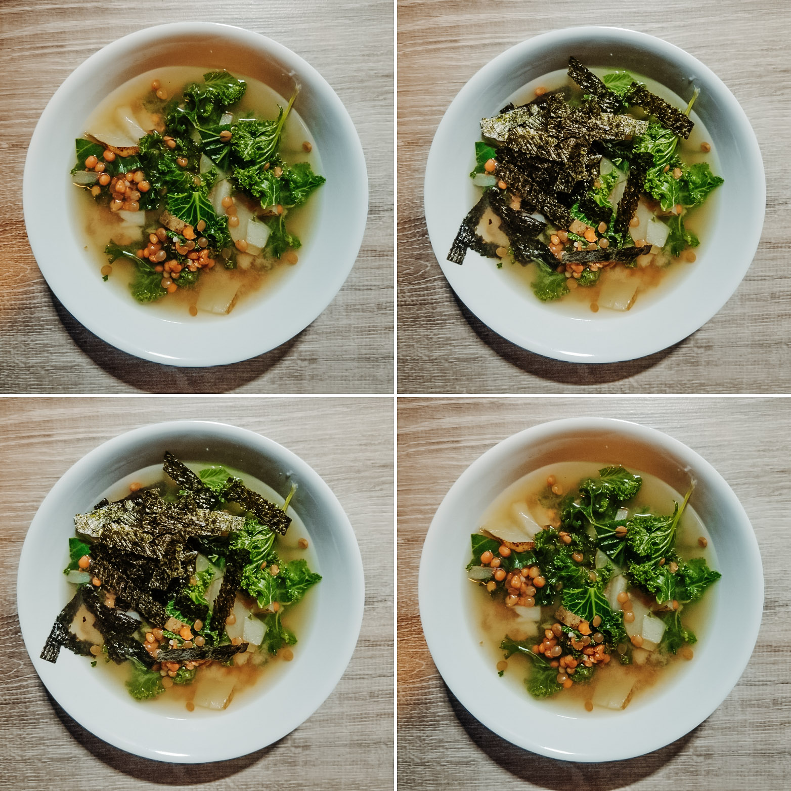 lentil miso kale soup in the instant pot or on the stove