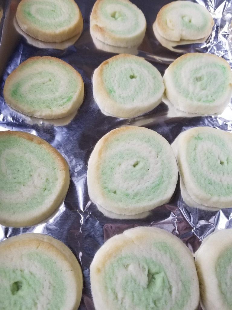 baked peppermint shortbread swirls