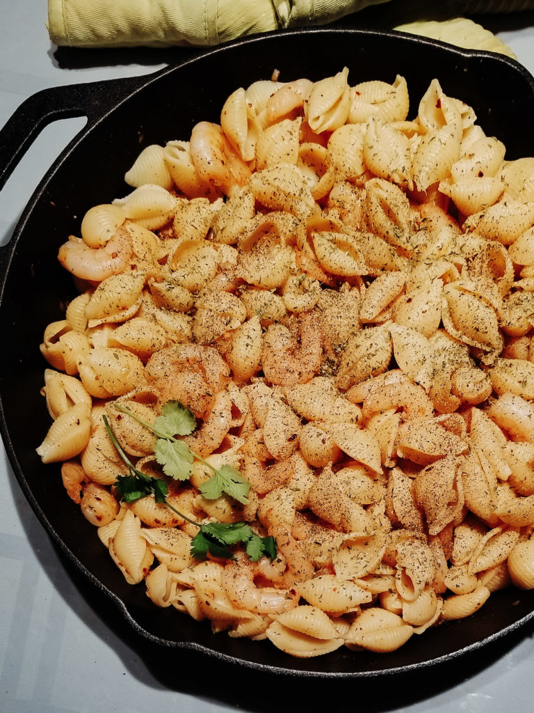 garlic scampi pasta shells
