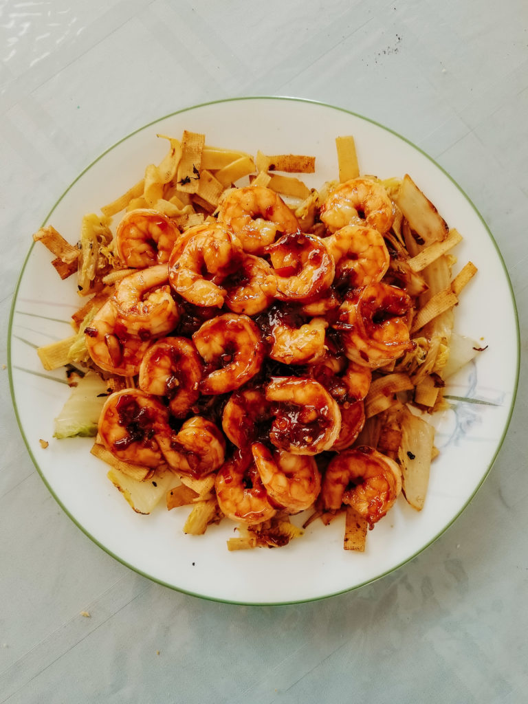 spicy chili garlic shrimp on napa cabbage and beancurd skin, from big flavors tiny kitchen