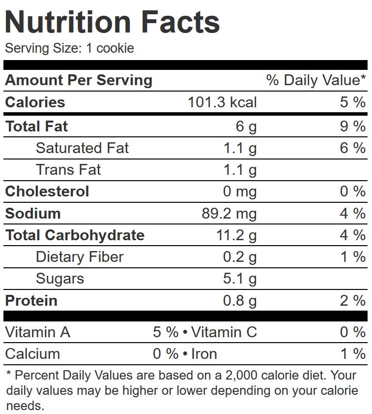 nutrition information for sliceable vegan shortbread swirl cookies