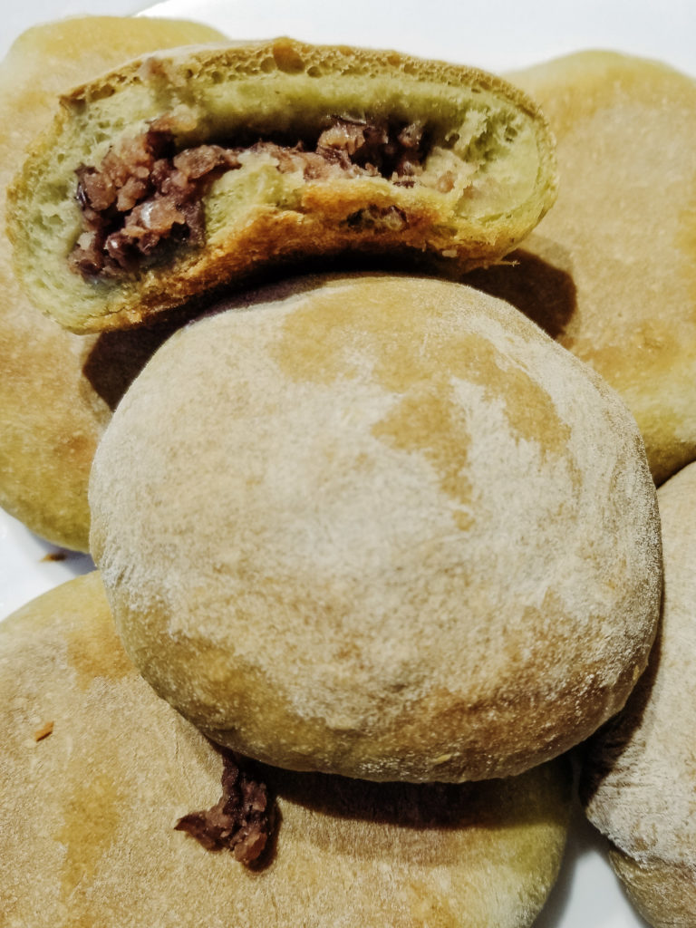 pandan bread with sweet red bean paste filling