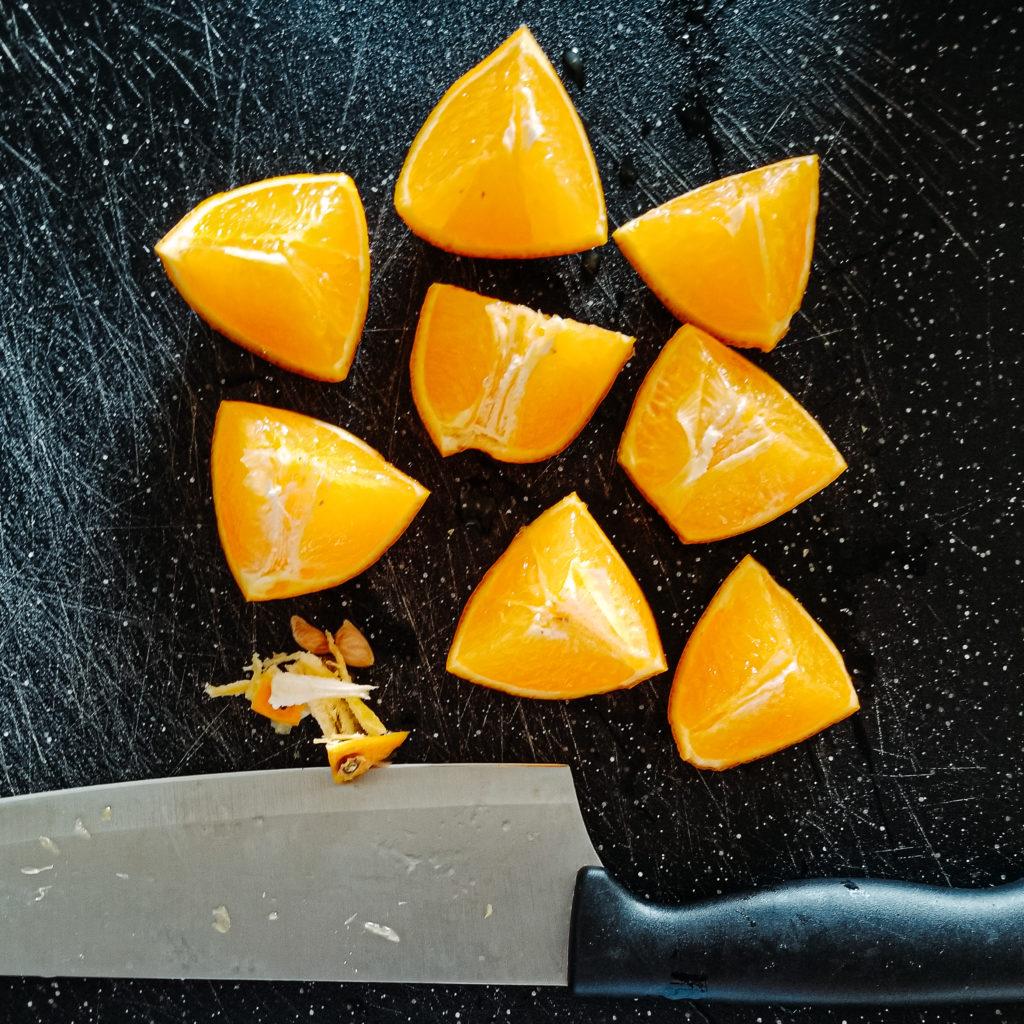 sliced chopped oranges for paska easter bread