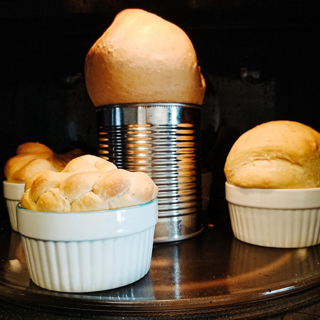 paska easter bread dough, baking in oven