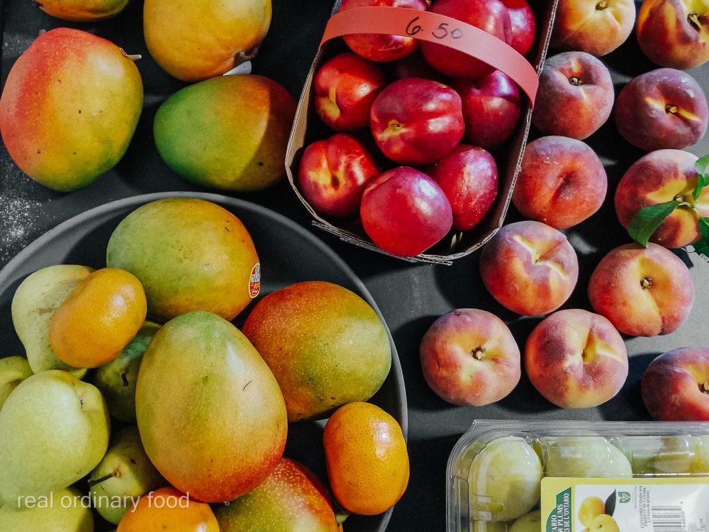 fruit spread of mango, pear, plum, nectarine, peach