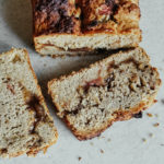 vegan double rhubarb dream loaf with fresh rhubarb and rhubarb butter
