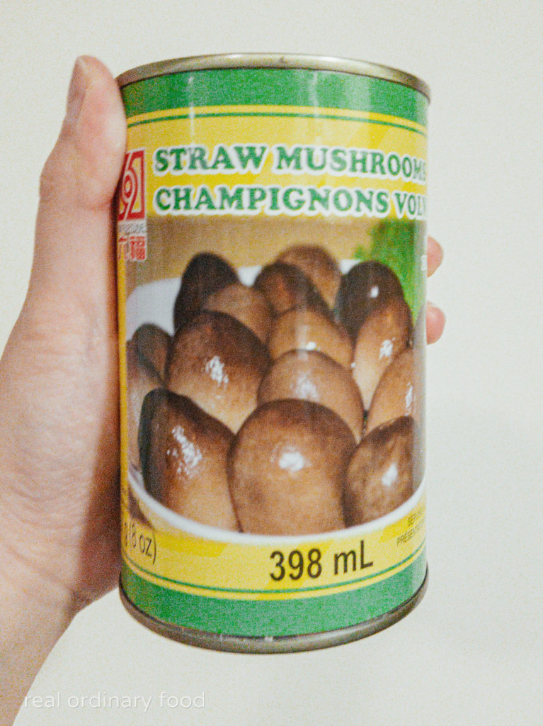 paddy straw mushrooms, canned