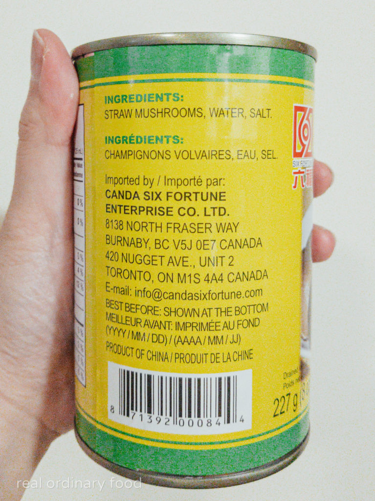 ingredients list for canned straw mushrooms