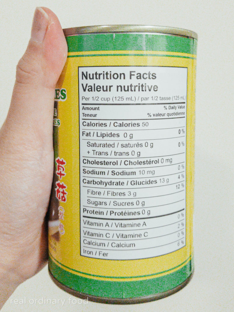 nutrition facts for canned straw mushrooms