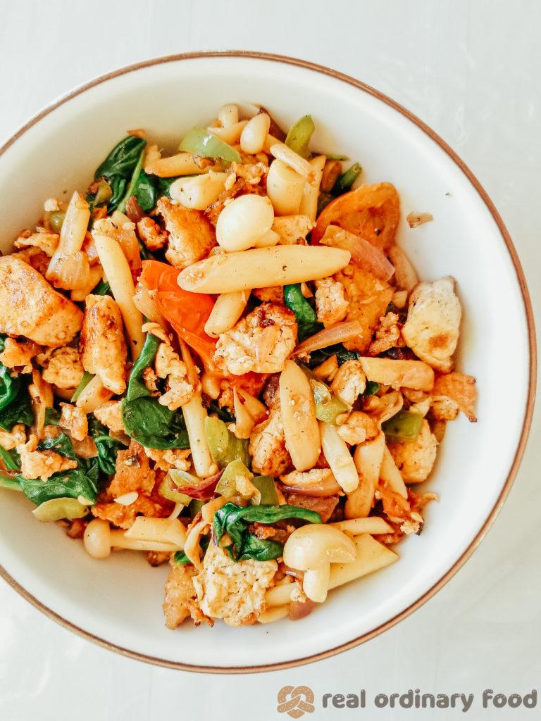 basic eggless veggie tofu scramble