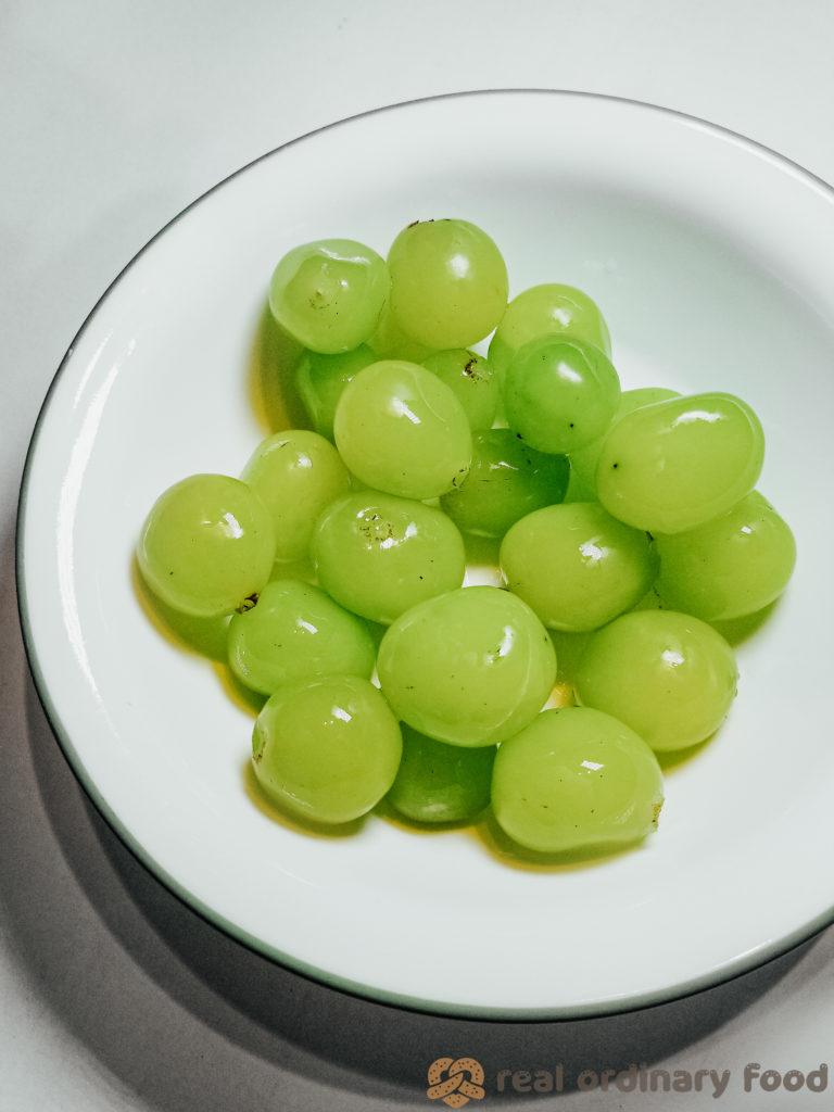 bowl of korean shine muscat grapes