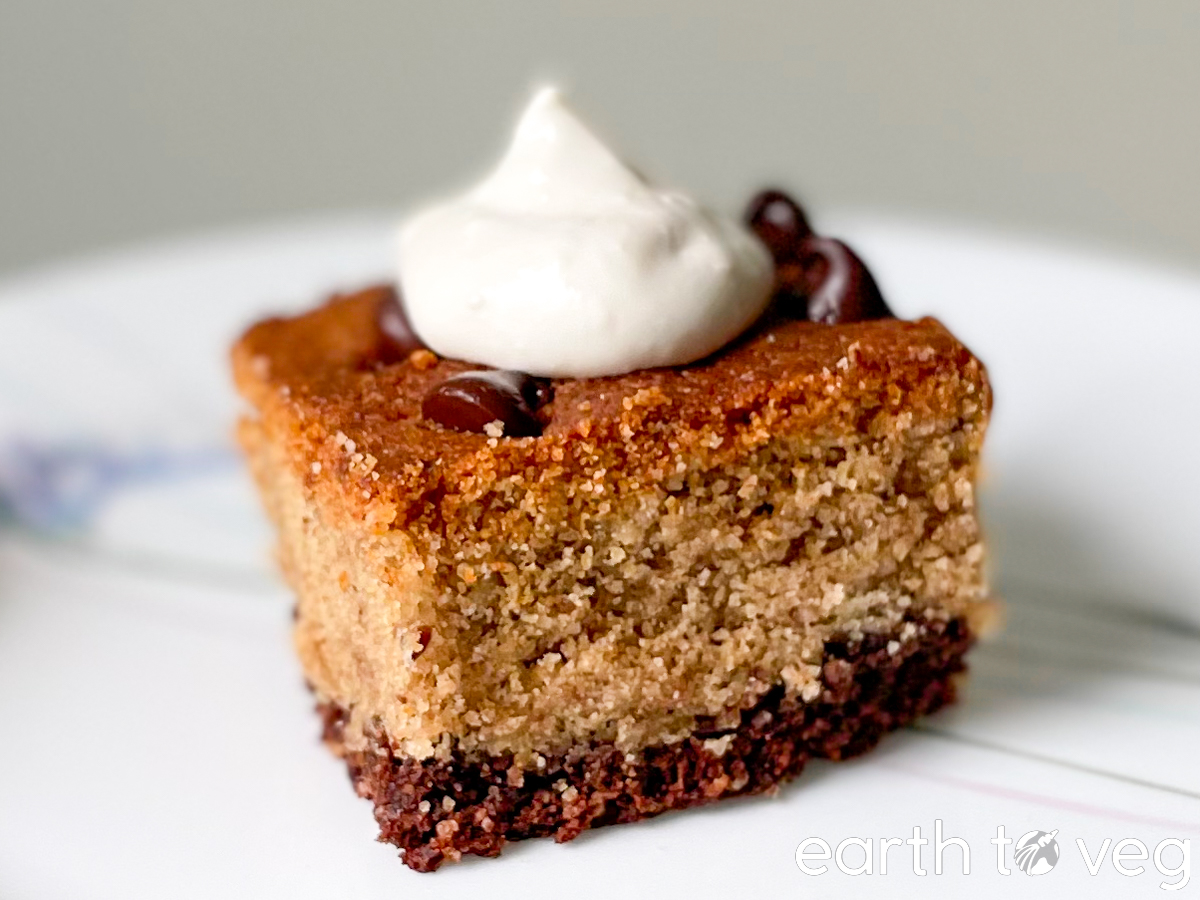vegan brookie pie with vegan cool whip