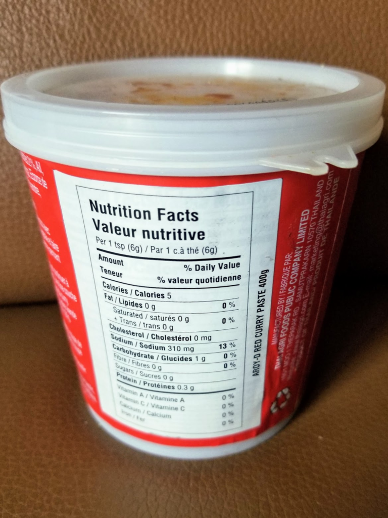 aroy d red curry paste nutritional facts