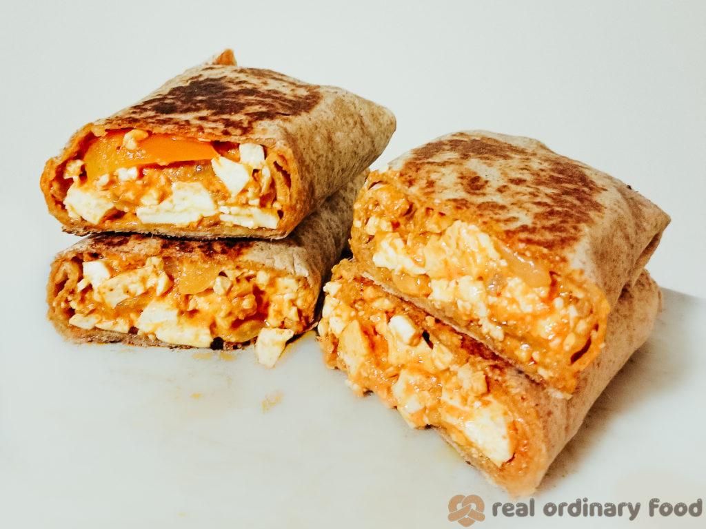 stack of leftover thai red curry burritos