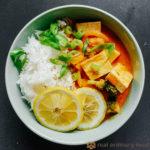 thai red curry (kaeng phet) over steamed rice