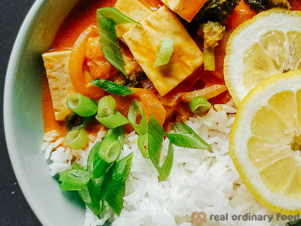 thai red curry (kaeng phet) over steamed rice