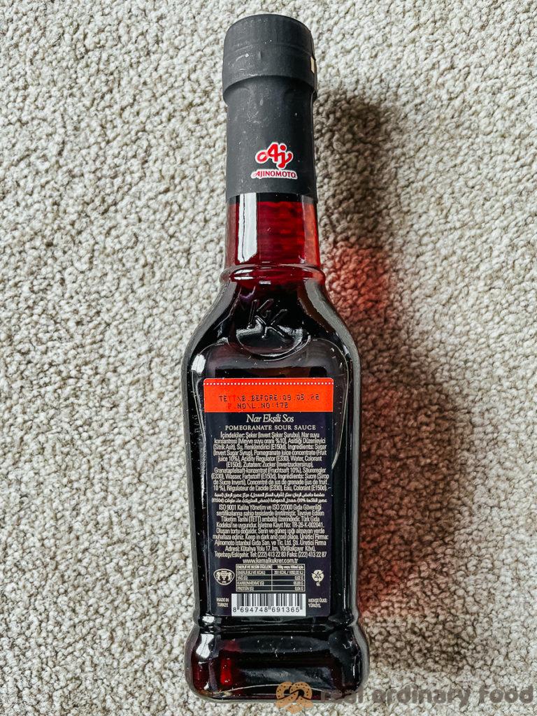 ingredients list for kemal kükrer brand nar ekşisi sos