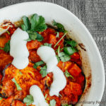 closeup of borani banjan with vegan yogurt
