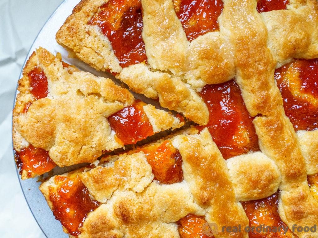 slice of armenian perok cake with apricot jam