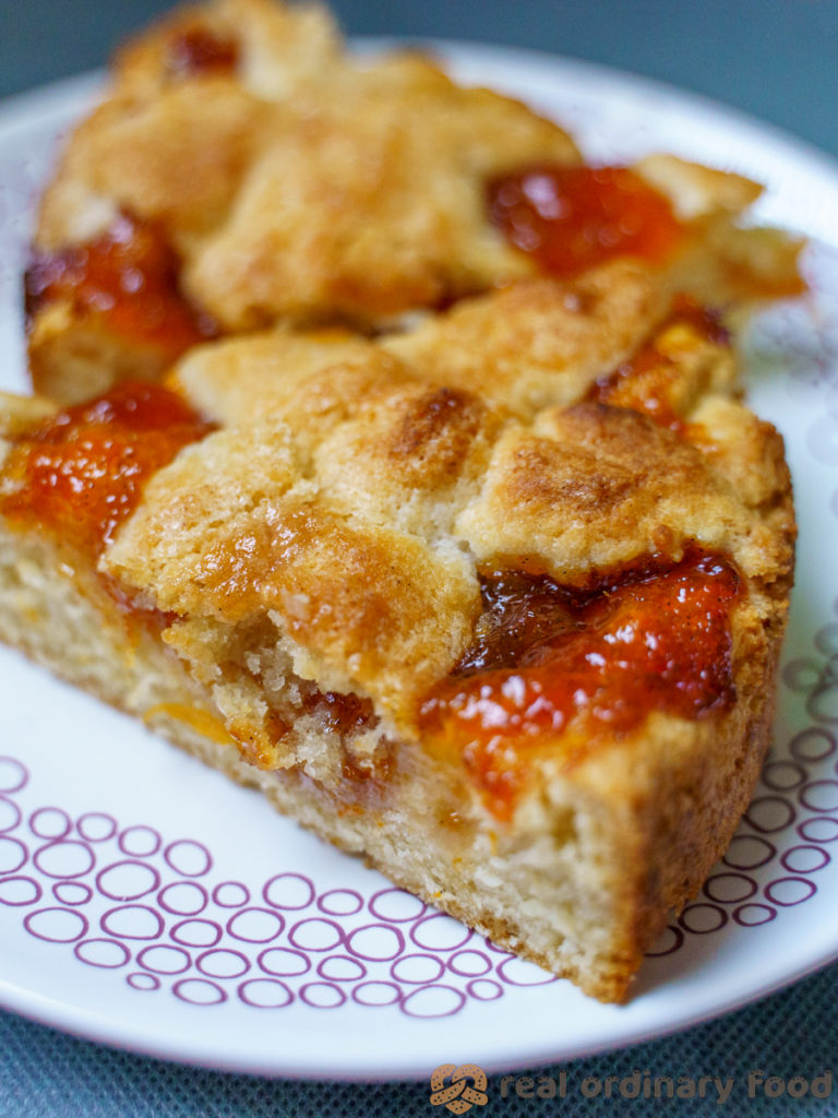 plate with two slices of apricot jam perok cake