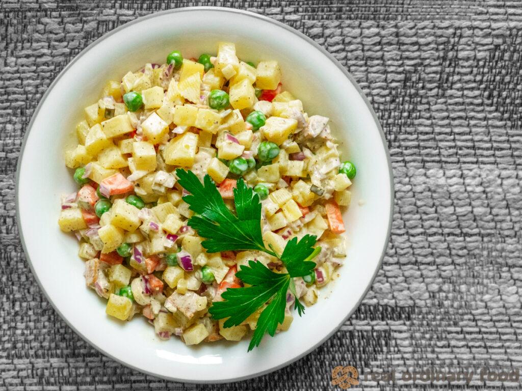 bowl full of vegan olivie