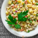 bowl of vegan olivier salad