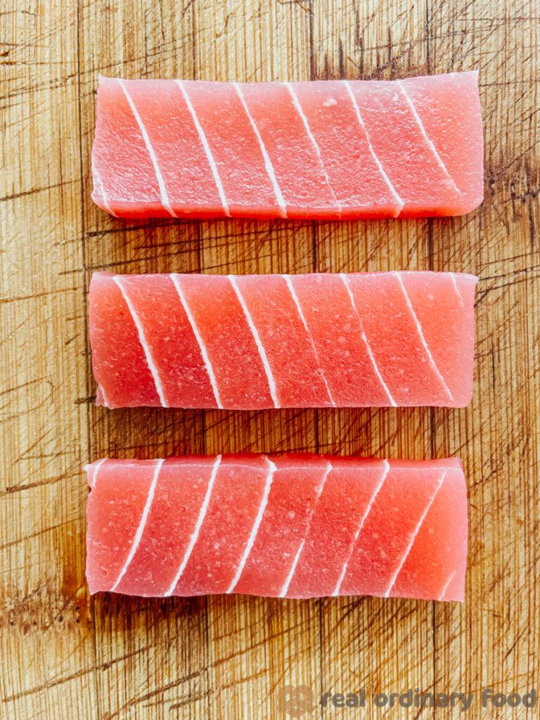 vege 9 vegan salmon sashimi slices