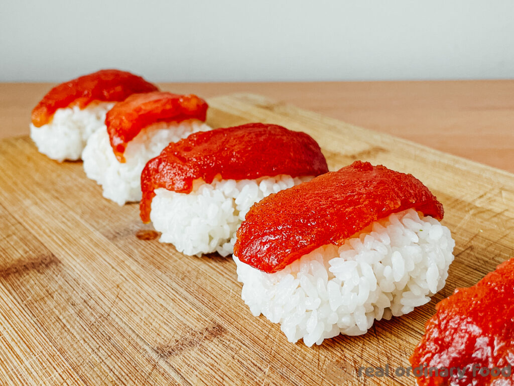 marinated tomato nigiri sushi