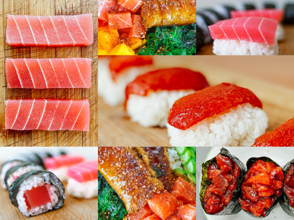 vegan nigiri and sashimi