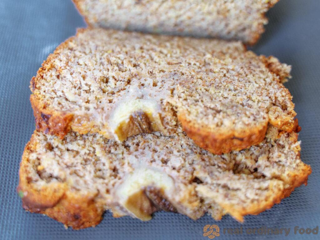 two slices of vegan rye flour banana bread