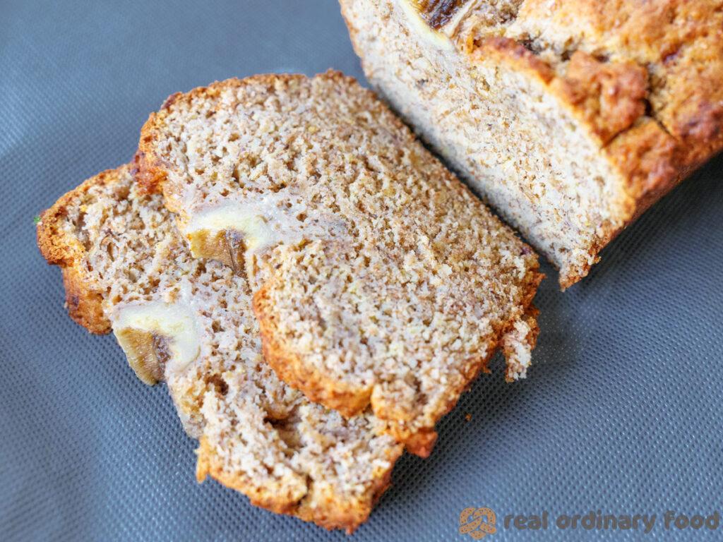 slices of vegan rye flour banana loaf