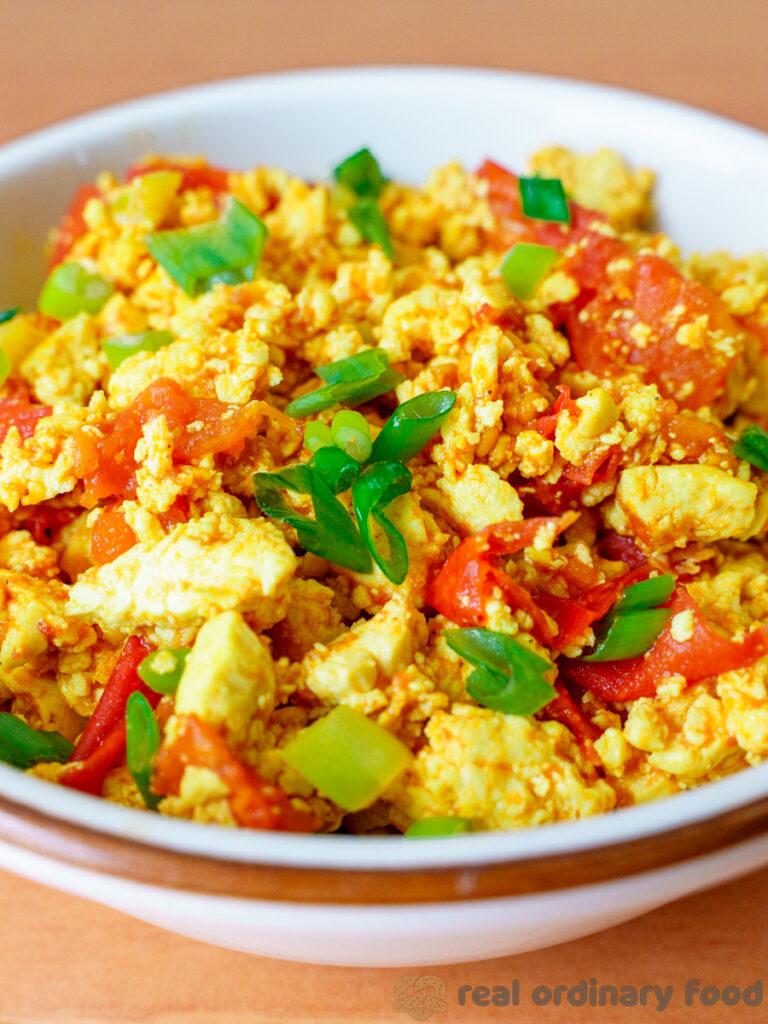 vegan chinese tomato egg stir fry