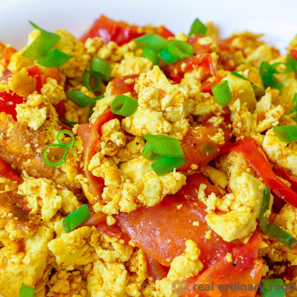 vegan chinese tomato eggless stir fry