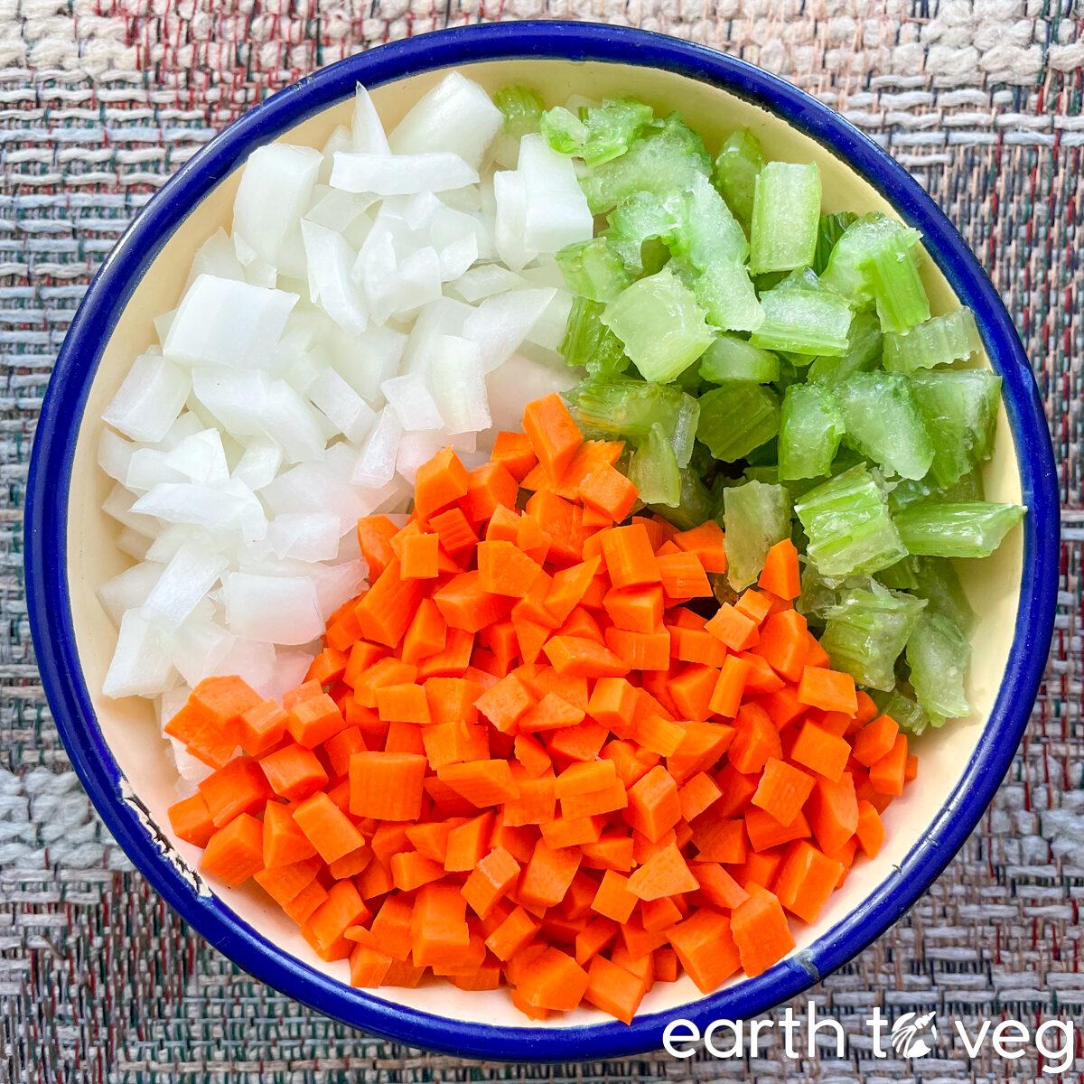 mirepoix ingredients (celery, onion, carrot)